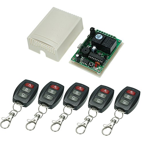 KKmoon 433Mhz DC 12V 2CH Universal 10A Relay Wireless Remote Control Switch Receiver Module and 5PCS 3 Key RF 433 Mhz Transmitter Remote Controls 1527 Chip Smart Home Automation by KKmoon (Image #6)