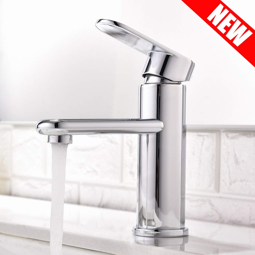 ATUM HOME Modern Commercial Polish Chrome Single Handle Single Hole Basin Bathroom Tap, Monobloc Hot and Cold Water Mixer Tap Bathroom Sink Tap