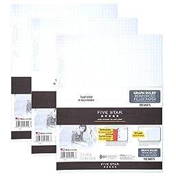 Five Star Filler Paper, Graph Quad Ruled, 100 Sheets per Pack, 3-Pack (73187)