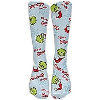 Christmas Merry Grinchmas Blue Knee High Graduated Compression Socks For Women And Men - Best Medical, Nursing, Travel & Flight Socks - Running & Fitness