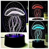 3D New Jellyfish Lamp Night Light Touch Table Desk Optical Illusion Lamps 7 Color Changing Lights Home Decoration Xmas Birthday Gift