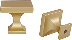 goldenwarm 15 Pack Gold Cabinet Knob Dresser Drawer Knob -LS6785BB Brass Cabinet Knob Modern Square Drawer Knob Kitchen Cabinet Hardware 1.1 inch Width
