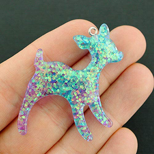 2 Fawn Charms Confetti Glitter Resin Silver Tone Loop Purple and Blue - K289
