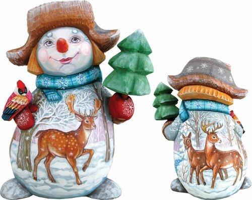 (G. Debrekht Reindeer Snowman and Broom Hand-Painted Wood Carving, Large)