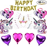 Unicorn Birthday Party Decorations 46 Pcs Set - Happy Birthday 16 Inch Letters Latex Balloons & Pink and Purple Foil Unicorns - Headband Ribbons and Party Bag Fillers 20 Unicron Bracelets