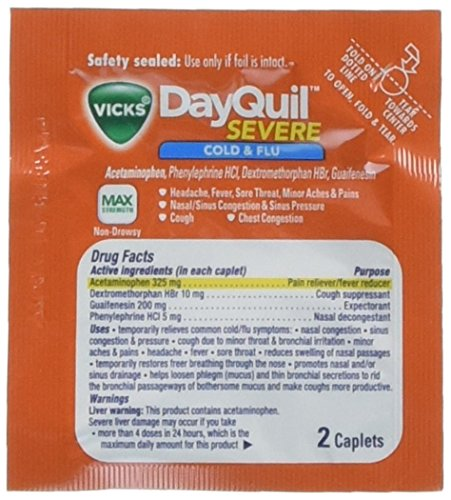 - Vick's DayQuil Cold & Flu (Box of 25 Packets of 2 Liquicaps)