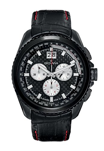 Grovana Men's 'Sport' Swiss Quartz Stainless Steel and Leather Casual Watch, Color:Black (Model: 1621-9577)