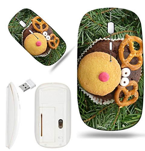 Luxlady Wireless Mouse White Base Travel 2.4G Wireless Mice with USB Receiver, 1000 DPI for notebook, pc, laptop,mac design IMAGE ID: 34324435 Christmas reindeer rudolph cookie (Rudolph Cookie)