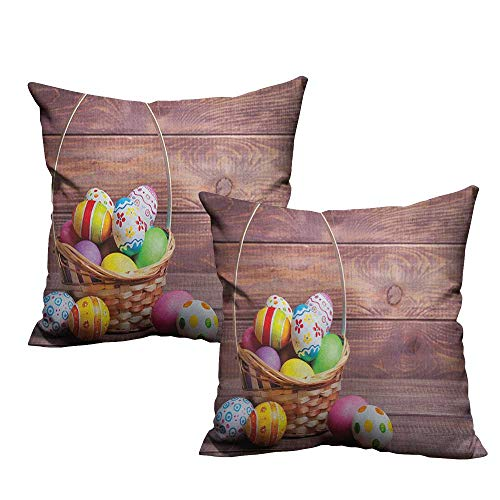 Weave Easter Basket - warmfamily Breathable Pillowcase Easter Colorful Eggs with Flowers and Polka Dots in a Weave Basket on Wooden Rustic Pattern Suitable for Hair and Skin Health W14 xL14 2 pcs