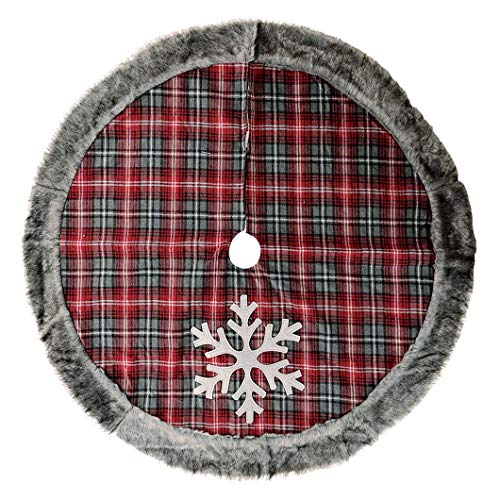 Aviat Christmas Tree Skirt,New Snow Tree Skirts,White Snowflake Red Plaid Fur Xmas Tree Skirt for Christmas Base Floor Decorations Mat,Home Decor for Holiday Party Gift Supplies,48'' from Aviat