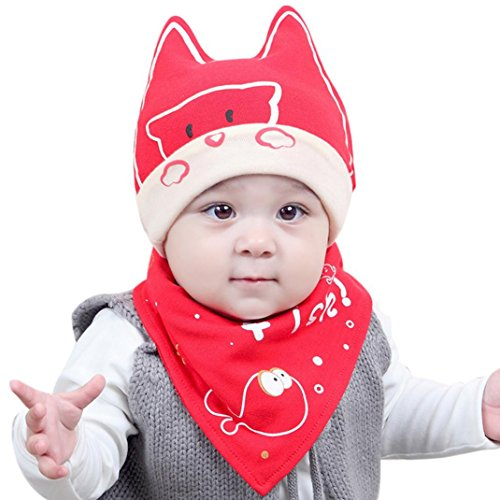 Lifestyler Cotton Baby Boy Girl Cap Bear Hat Bib Head Scarf Toddler Saliva Set Red (Wings Juniors Tattoo T-shirt)
