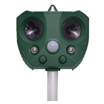 DSNOW Repelente de Gatos, Solar Ahuyentador Ultrasónico para Animales, con LED Espantar Ratones Perros Gatos Pájaros Zorros Uso para Exterior y Jardín ...