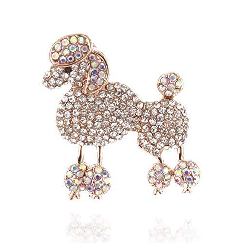 - SP Sophia Collection Paris French Poodle Brilliant Rhinestone Brooch Pin in Rose Gold