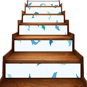Walls Decals Leaping and Playing Dolphin Figur Marine Theme Turqoise Blue Navy Staircase Steps Stickers Decor for Backsplash and Stair Riser Staircase, W39.3 x H7 inch