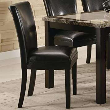 Amazon.com   Set Of 2 Parson Dining Chairs In Black Faux Leather   Chairs