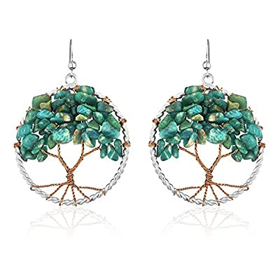Handmade Silver-Plated Copper Trunk Tree of Life Gemstone Bead Dangle Earrings