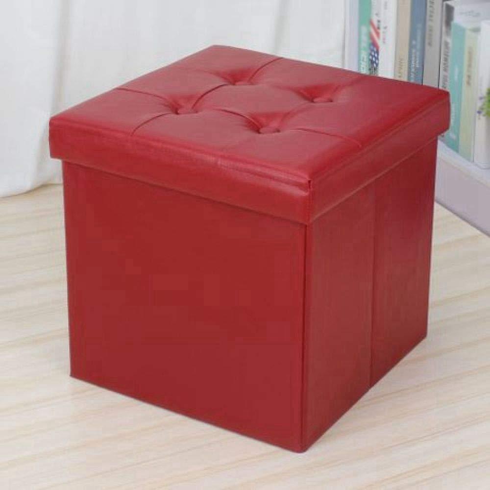 B ZhiGe Storage seat,Simple leather storage stool Multifunction sitting storage folding stool Lightweight and portable