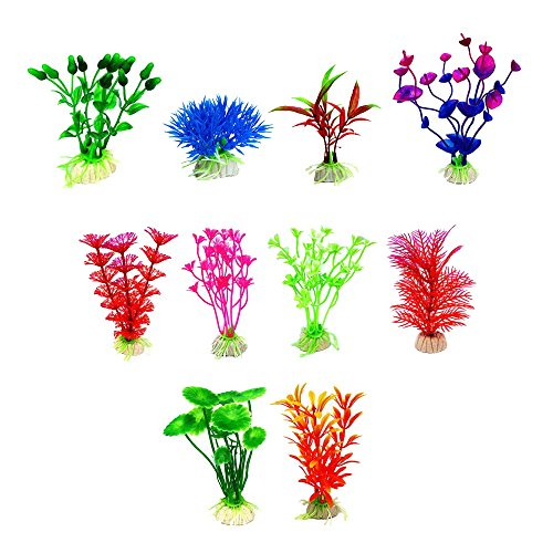 ChooseU 1.9-5 inch Bright-Colored Aquatic Plants with Elegant Color and Perfect for Fishbow Decoration Silica Ceramics is More Stable in the Deep Water Tank(pack of 10) (Green)