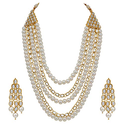 Aheli 4 Layered Bollywood Ethnic Long Kundan Pearl Necklace and Earrings Set Indian Traditional Festive Jewelry (White) for Women Girls (Kundan Jewelry)