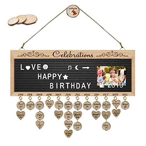 - ElekFX Outdoor Activity Arrangement Board- Pure Wooden Celebration Tracker Organizer Board Party Record Board Wall Hanging with Letter Board, DIY Calendar Plaque with Tags for Wall Décor