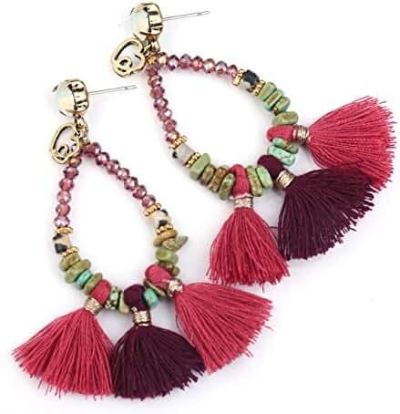Badu Tassel Crystal Earrings Antique gold Beads Handmade Jewellery Stone Waterdrop AER2425