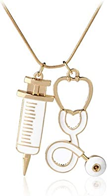 Nurse Necklace RN Stethoscope Initial Medical Graduation Gift Jewelry