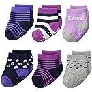 Carter's Baby-Girls Newborn Love Socks, Multi, 3-12/Medium Months (Pack of 6)