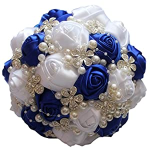 S-ssoy Wedding Bouquet Bride Bridal Brooch Bouquets Bridesmaid Bouquet Diamond Pearl Ribbon Valentine's Day Confession Party Church with Free Corsage Flower, Royal blue+White 105