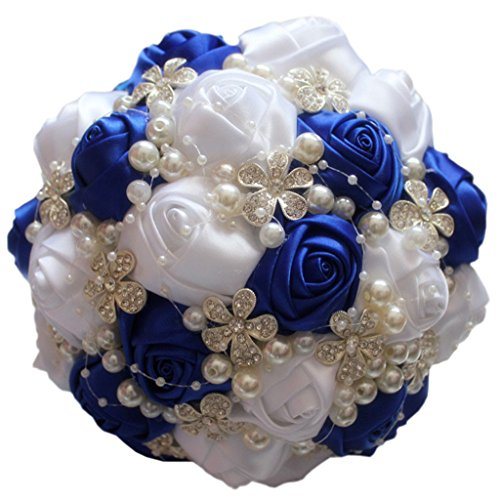 S-ssoy Wedding Bouquet Bride Bridal Brooch Bouquets Bridesmaid Bouquet Diamond Pearl Ribbon Valentine's Day Confession Party Church with Free Corsage Flower, Royal blue+White