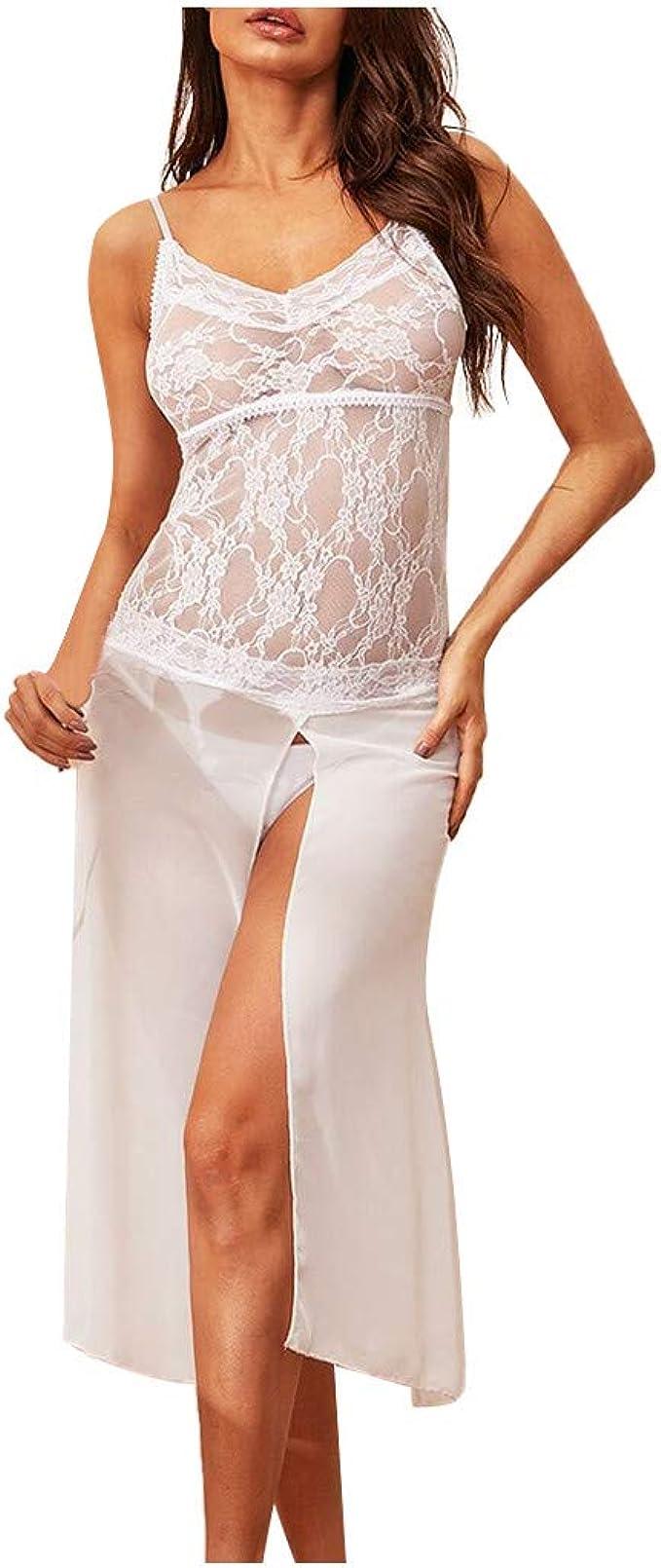 Damen Kleider Sexy Weiß Spitze Lang V-Ausschnitt Negligee