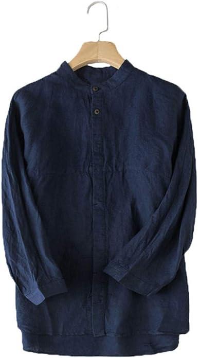 Camisas Hombre Hombre Primavera Verano Otoño Vintage Camisa de Hombre Cuello Alto Botón de Manga 3/4 Algodón Lino Blusa de Color sólido Estilo Chino Ocio Hombre Camisas Tops: Amazon.es: Ropa y accesorios