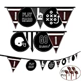 Game Day Football Party Banner - 9 Flags Pennant Bunting Banner Party Decoration for Super Bowl Sports Party - Touch Down - 20Pcs Football Cupcake Toppers
