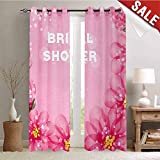 Pink Mossy Oak Shower Curtain Hengshu Bridal Shower Customized Curtains Wedding Theme Asian Flowers with Abstract Petals and Dots Image Window Curtain Drape W84 x L108 Inch Hot Pink and Light Pink