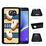 Traditional Hanukkah Food Sufganiyot Pattern with Jewish Stars and Yellow Chevron Background Samsung Galaxy Note 5 Rubber Silicone TPU Cell Phone Case