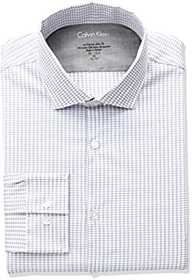 Calvin Klein Men's Stretch Xtreme Slim Fit Check Spread Collar Dress Shirt