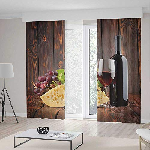 ALUONI Decor Collection TT02 Wine for Living Room Red Wine Cabernet Bottle and Glass 2 Panel Set 196W x 83LInches