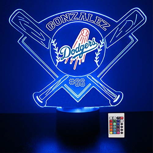 (Mirror Magic Store Dodgers Baseball LED Night Light with Free Personalization - Night Lamp - Table Lamp - Featuring Licensed Decal )