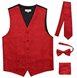 JAIFEI Premium Men's 4-Piece Paisley Vest For Sleek Looks On Formal Occasions (2XL (Chest 48), Red)