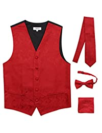JAIFEI Premium Men's 4-Piece Paisley Vest for Sleek Looks On Formal Occasions