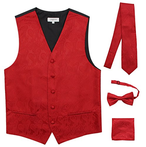 JAIFEI Premium Men's 4-Piece Paisley Vest for Sleek Looks On Formal Occasions (XL (Chest 45), Red) -