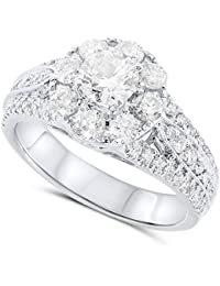 IGI Certified 1.66 Carats in 14k White Gold Diamond Halo and Diamond Accent Engagement Ring