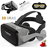VR Headset Glasses, 3D Virtual Reality Goggles w/Headphone & Remote for 3D Movie Game, Compatible for iPhone XR XS X 8 7 6S Plus Samsung Galaxy S9 S8 S7 S6 Edge Note 5 LG G6 G5 G4, VR Glasses Gray (Color: Gray, Tamaño: Medium)