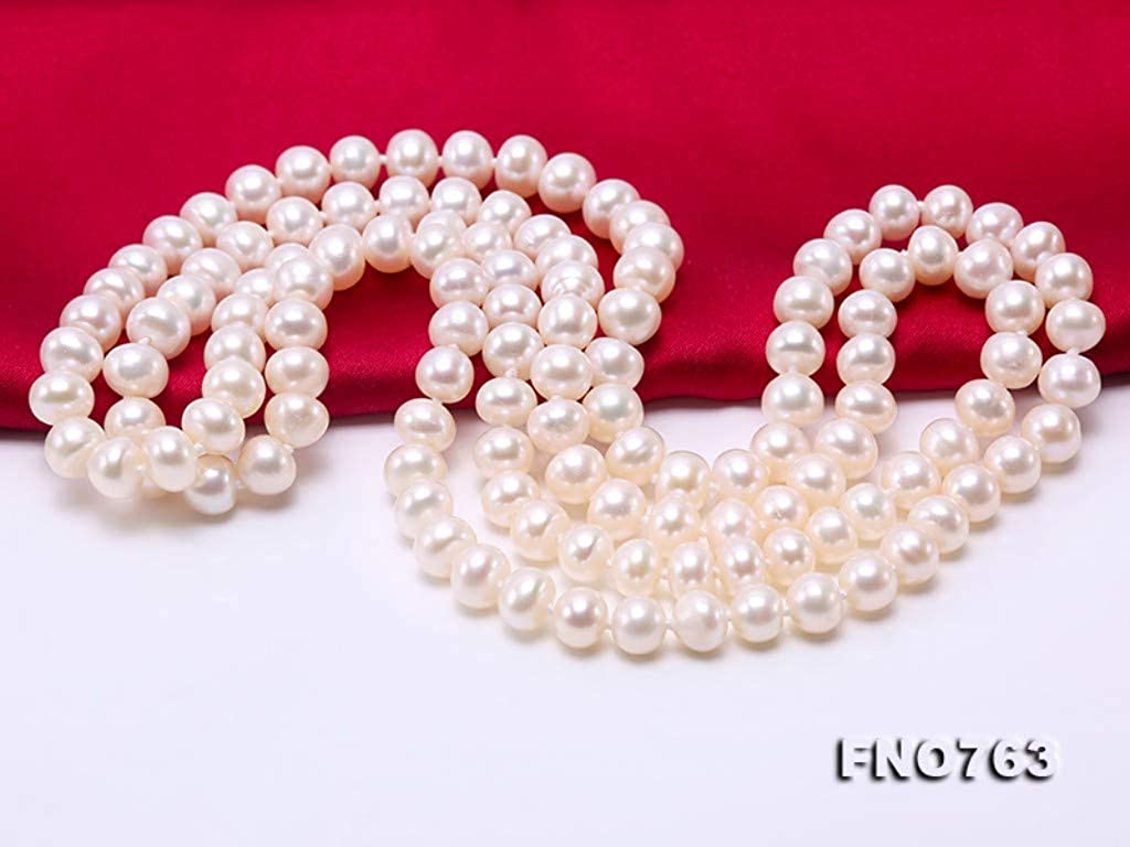 JYX Near-Round Natural White Freshwater Pearl Necklace Long Sweater Necklace 32