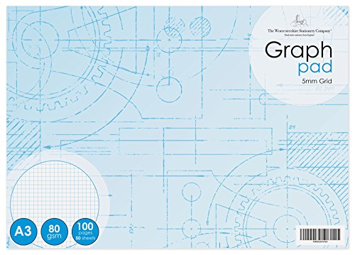 A3 Graph pad (16.5 x 11.69), 5mm Grid, 50 Sheets (100 Pages), 80gsm White Paper