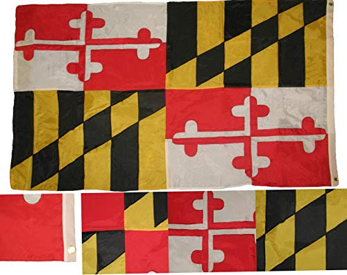 Kaputar 2x3 Embroidered State of Maryland Nylon Flag Sewn 3x5 Banner Grommets | Model FLG - 6688