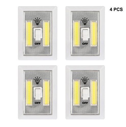 COB LED Night Light, Battery Operated Cordless Light Switch 300 Lumen Closet Light New Hope Store Cabinet Lamp Tap Light for Baby Nursery, Hallways, Bedrooms 4-Pack (Battery not - Square New Store