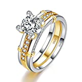 BONLAVIE 18K Yellow Gold Plated Solid Sterling Silver Cubic Zirconia Eternity Wedding Band Ring for Women, 7