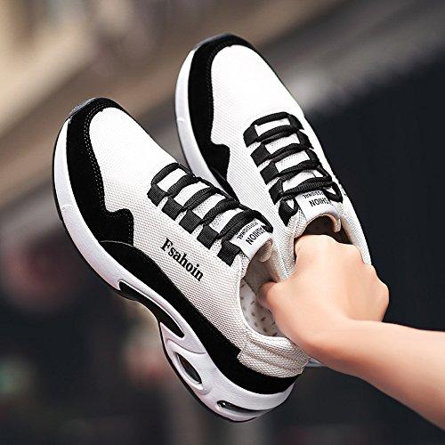 De Cruz ALIKEEYHombres Solido Zapatos Absorcion De Moda Gimnasio Ventilación Color Atado Blanco De Choque qwxZ4wU
