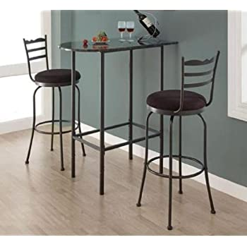 monarch specialties grey marble and charcoal metal 24inch by 36inch spacesaver bar - 36 Inch Bar Stools