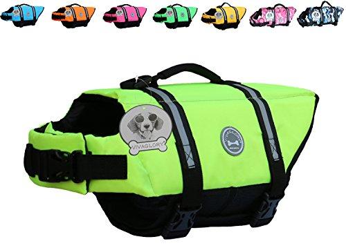 Vivaglory Dog Life Jacket Size Adjustable Dog Lifesaver Safety Extra Bright Yellow Vest Pet Life Preserver, Extra Bright Yellow, (Dog Life Jacket)